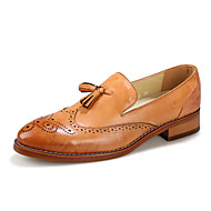 Men's Spring / Summer / Fall / Winter Round Toe Leather Casual Tassel / Slip-on Black / Brown / Burgundy