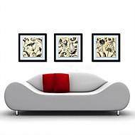 peinture à l'huile décoration fleurs abstraites main toile peinte avec étiré encadrée - ensemble de 3