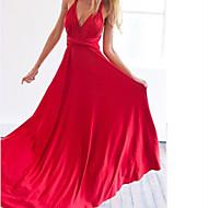 halter rojo vestido maxi sexy v profunda sin respaldo de algodón de las mujeres