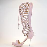 Women's Spring / Summer / Fall Heels / Peep Toe / Platform Leather Wedding / Party & Evening / Dress Stiletto HeelCrystal / Sparkling