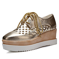 Women's Shoes Wedge Heel Square Toe Oxfords Office & Career/Dress/Casual Black/Pink/White/Silver/Rose Gold