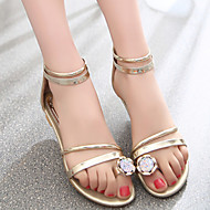 Women's Shoes Wedge Heel Comfort Rhinestone Sandals Dress/Casual Silver/Gold
