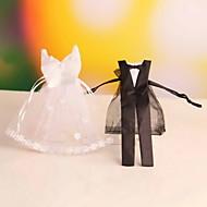 Geschenktaschen ( Schwarz/Weiß , Organza ) - Nicht personalisiert - Hochzeit/Jubliläum/Brautparty