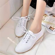 נעלי נשים - אוקספורד - עור פטנט - נוחות / שפיץ / סגור - שחור / לבן - קז'ואל - עקב שטוח