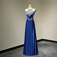 Formal Evening Dress - Royal Blue Plus Sizes / Petite A-line Halter Floor-length Satin