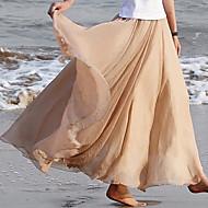 Women's Vintage Beach Casual Maxi Micro-elastic Medium Maxi Skirts (Chiffon)