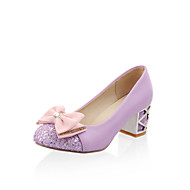 Femme Chaussures à Talons Confort Nouveauté Similicuir Printemps Automne Décontracté Habillé Noeud Gros Talon Noir Violet Rose Amande2,5