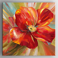Oil Painting Modern  Impression Red Flower Painting Hand Painted Canvas with Stretched Framed Ready to Hang
