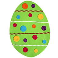 forme d'oeuf de pâques conception dentelle de soie faux napperon avec des carrés multicolores de nervures et le ruban