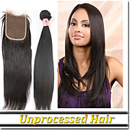 """4Pcs/Lot 8""""-30""""Peruvian Hair Weft With Lace Closure Silk Straight Natural Color"""