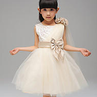 A-line / Ball Gown Tea-length Flower Girl Dress - Cotton / Tulle / Sequined / Polyester Sleeveless