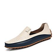 Herren Schuhe Nappaleder Frühling Sommer Herbst Winter Komfort Tauchschuhe Loafers & Slip-Ons Niete Für Normal Weiß Blau
