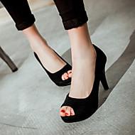 Calçados Femininos Camursa Sintética Salto Agulha Peep Toe Sandálias Escritório & Trabalho/Social Preto/Roxo/Vinho