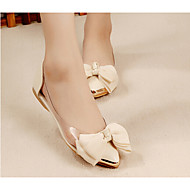 Women's Spring / Summer / Fall Pointed Toe / Closed Toe / Comfort Glitter / Leatherette Casual Flat Heel Pink / Beige