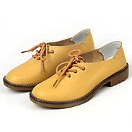 Women's Shoes Leather Flat Heel Round Toe Oxfords Office & Career/Dress/Casual Black/Blue/Yellow/Red