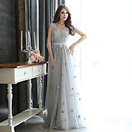 Formal Evening Dress - Silver Plus Sizes Sheath/Column V-neck Floor-length Tulle