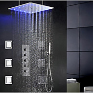 Modern Douchesysteem LED / Regendouche / Wide spary / Inclusief handdouche with  Keramische ventiel Single Handle Vier Gaten for  Chroom,