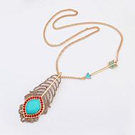 Women's European Style Fashion Wild Arrow Peacock Feather Necklace