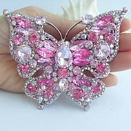 Women Accessories Silver-tone Pink Rhinestone Crystal Brooch Art Deco Butterfly Brooch Bouquet Women Jewelry