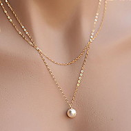 Simple Elegant Pearl Double Chain Alloy Pendant Necklace