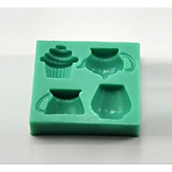 Teapot Teacup Cupcake Shaped Fondant Cake Mould Chocolate Silicone Mold/Decoration Tools For Kitchen Baking