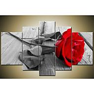 kézzel festett modern absztrakt gyönyörű falfestményekkel díszített szürke piros rózsa olaj, vászon 5db / szett keret nélkül