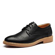 Masculino-Oxfords-sapatos Bullock Conforto-Rasteiro-Preto Amarelo Marron Azul-Couro-Ar-Livre Escritório & Trabalho Casual Festas & Noite