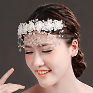 Women Crystal/Tulle/Brass/Imitation Pearl Flowers/Head Chain With Crystal/Imitation Pearl Wedding/Party Headpiece