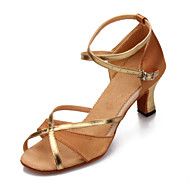 Non Customizable Women's Dance Shoes Latin Satin/Leatherette Cuban Heel Black/Blue/Brown/Red/Leopard