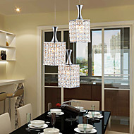 3 Lights Metal Frame K9 Crystal Chandelier Restaurant Droplight Send E27 Bulb