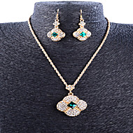 May Polly European fashion clover full diamond necklace earrings set