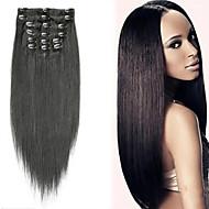 """16 """"-30"""" (9pcs) / set clipe 120g no brasileiro extensões de cabelo grampo em extensões do cabelo humano cabelo reto"""