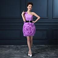 Cocktail Party Dress - Champagne / Lilac / Watermelon Plus Sizes A-line One Shoulder Short/Mini Organza / Satin