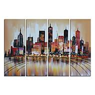 handbemalte abstrakten modernen braunen Stadtbild-Ölgemälde auf Segeltuch 4pcs / set (ohne Rahmen)