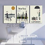 set van 3 stretched canvas afdrukken kunststad indruk