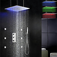 Duscharmaturen - Zeitgenössisch - LED / Thermostatische / Regendusche / Seitendüse / Handdusche inklusive - Messing (Chrom)