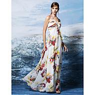Formal Evening Dress - Print Plus Sizes / Petite Sheath/Column Halter Floor-length Chiffon