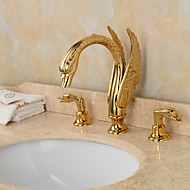 Golden Handles Deck Mounted Ornate Swan Sink Mixer