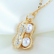 Women's Silver Peanut Style Necklace Pendent With Imitation Pearl