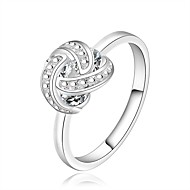 Fashion Geometric Shape Silver Plating European Style Zircon Ring (Silver)(1Pc)