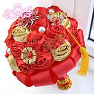 Свадебные цветы Круглый Розы Букеты Свадьба Полиэфир Атлас Бусинки Поролон Около 20 см