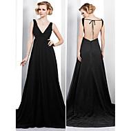 Formal Evening Dress - Black Plus Sizes A-line V-neck Court Train Chiffon