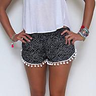 Mulheres Calças Casual / Fofo Shorts Algodão Micro-Elástica Mulheres