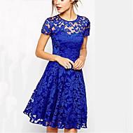 여성의 섹시한 라운드 넥 솔리드 컬러 레이스 드레스