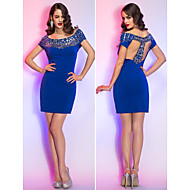 Cocktail Party/Holiday Dress - Royal Blue Sheath/Column Off-the-shoulder Short/Mini Jersey