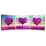 romanttinen sydämen muotoinen puu maiseman kankaalle print Canvastaulu kolme paneelit korkealaatuinen kangas valmiina roikkua