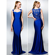 TS Couture® Formal Evening Dress - Royal Blue Plus Sizes / Petite Trumpet/Mermaid Queen Anne Sweep/Brush Train Jersey