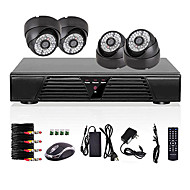 4CH Full D1 DVR Motion Detection CCTV Home Security Kit 800TVL Night Vision Dome Camera