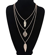 Women's Europe And The United States Multilayer Leaf Blade Alloy Necklace Sweater Chain