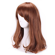 Brown Fashion Wavy Curly Sex Products Pelucas Natual Realistic Wigs Cosplay Wigs Cheap Synthetic Hair Wigs Bangs